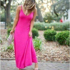 NWT Gibson Pink Sleeveless V-Neck Modal Maxi Dress